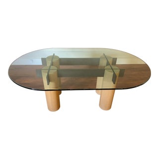 Custom Log, Metal and Glass Dining Table For Sale