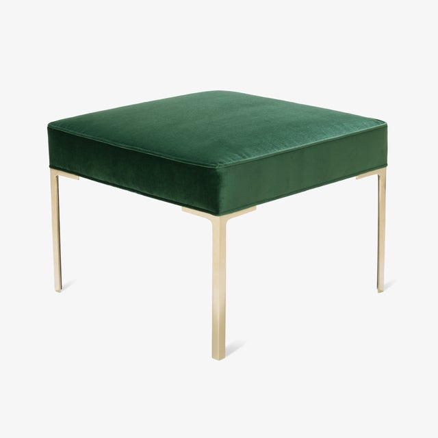 Mid-Century Modern Astor Square Brass Ottomans in Emerald Velvet by Montage, Pair For Sale - Image 3 of 8