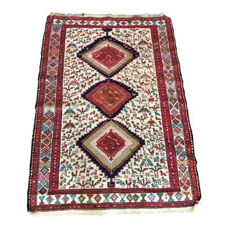 "Silk Persian Qum Soumak Rug - 4'2"" x 6'2"""