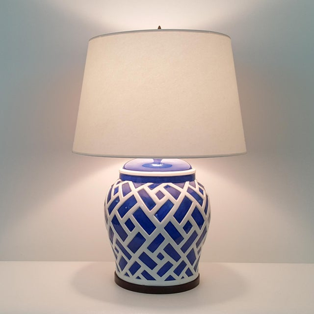 Frederick Cooper Blue & White Ginger Jar Lamps - A Pair - Image 7 of 7