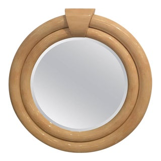 Tessellated Bone Round Wall Mirror For Sale