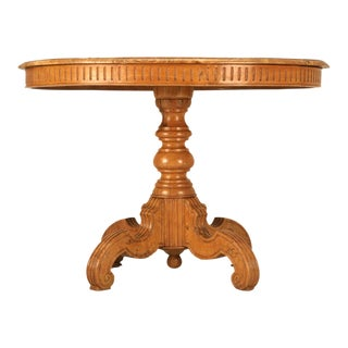 Ovoid Antique Continental Elm Table w/Marquetry Diamonds & Stars