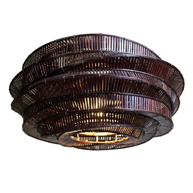 """Contemporary Thai Bamboo Intricately Woven """"Cloud"""" Chandelier For Sale - Image 3 of 5"""