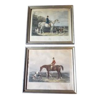 Mid 20th Century Edward Hacker Hunt Scene Prints, Framed - a Pair For Sale