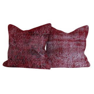 Vintage Large Over Dyed Distressed Red Hand-Knotted Rug Pillows - a Pair