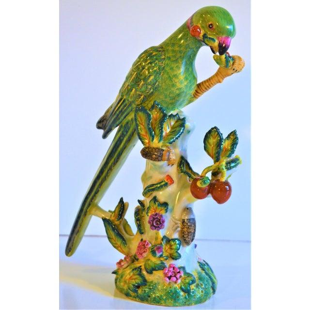 (Final Markdown Taken) Vintage Green Majolica Parrot Figurine For Sale - Image 9 of 9