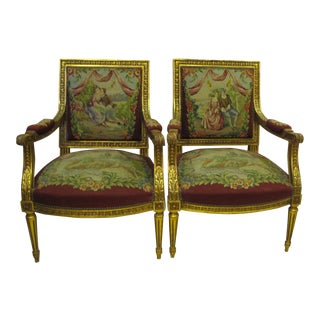 Louis XV Style Needlepoint Upholstered Chairs - a Pair