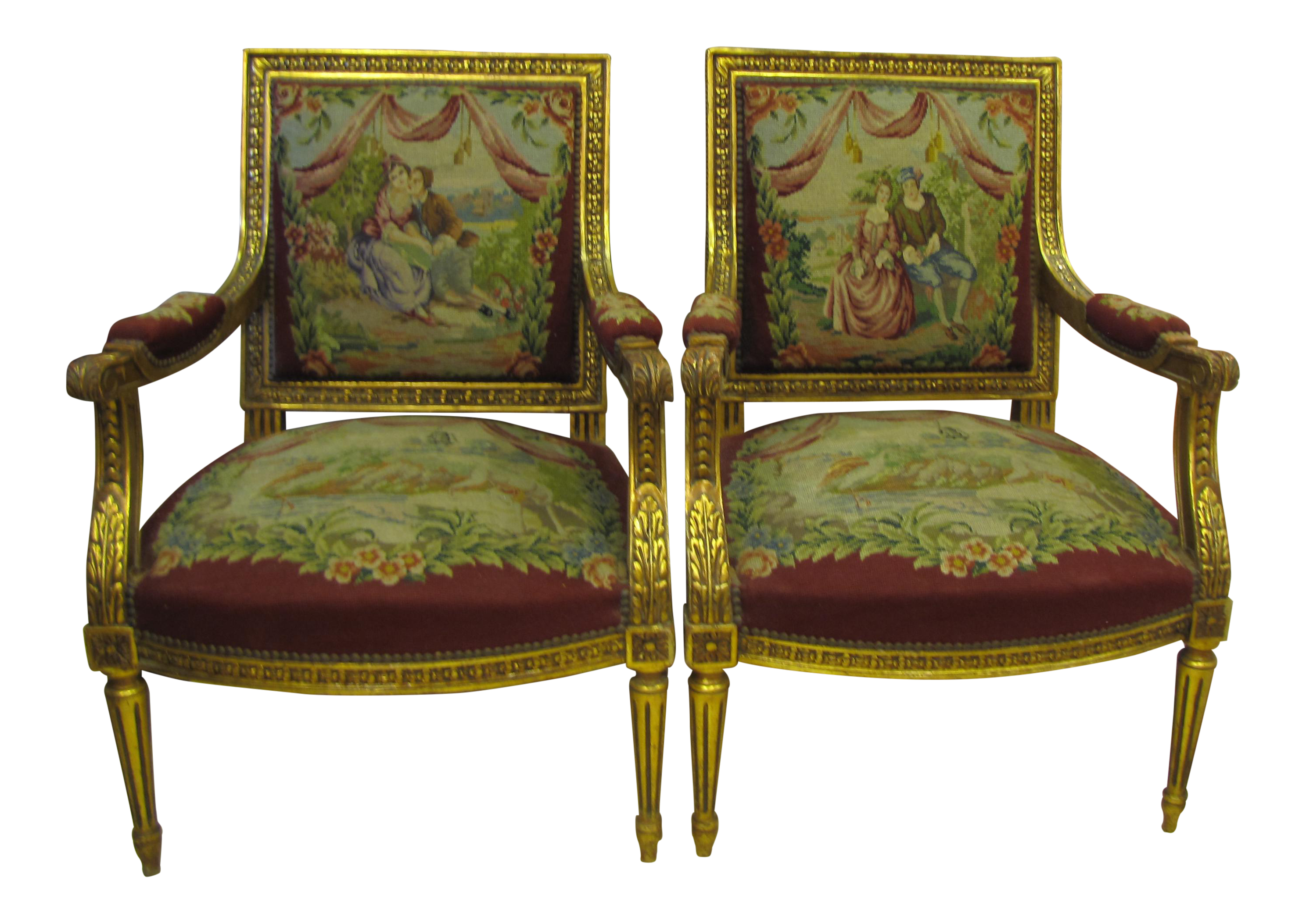 Louis XV Style Needlepoint Upholstered Chairs   A Pair