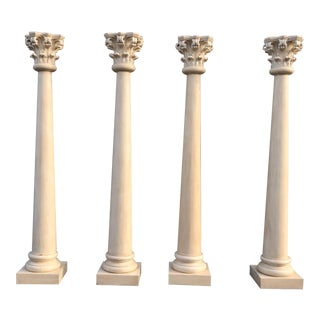 Tall Greek Roman Neoclassical Hand Carved Wood Corinthian Architectural Columns - Set of 4 For Sale