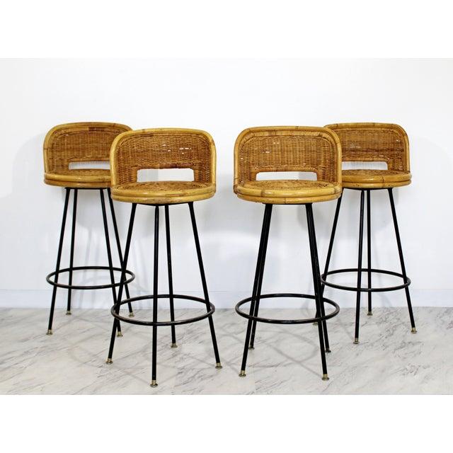 Tan Mid Century Modern Danny Ho Fong Set 4 Bamboo Rattan Iron Swivel Barstools 1960s For Sale - Image 8 of 8