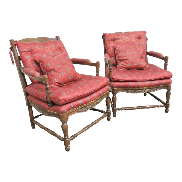 Country French Oak Floral Carved Chairs- a Pair For Sale