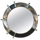 Image of Italian Contemporary Bespoke Black Silver & Aqua Murano Glass Brass Round Mirror For Sale