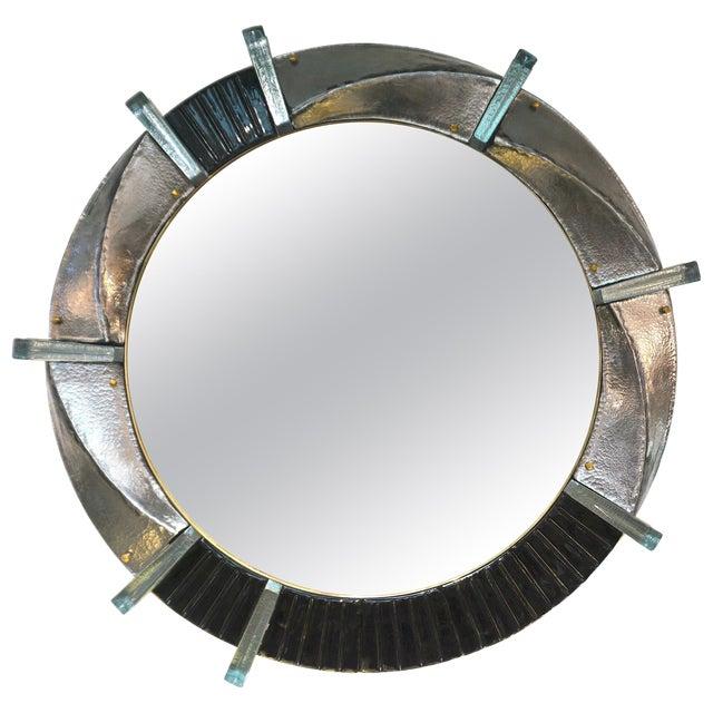 Italian Contemporary Bespoke Black Silver & Aqua Murano Glass Brass Round Mirror For Sale