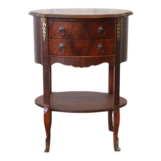 Vintage French Mahogany Two-Drawer Side Table For Sale