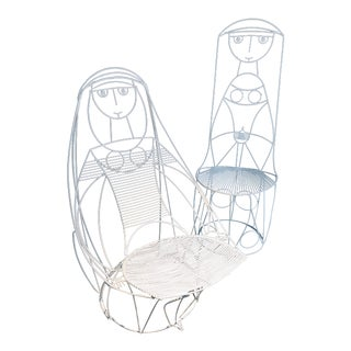1950s Vintage John Risley's Wire Nun Pop Art Chairs- A Pair For Sale