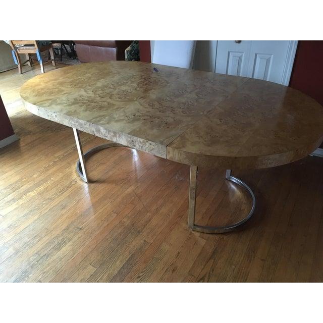Mid-Century Milo Baughman Burled Wood Dining Table - Image 7 of 10
