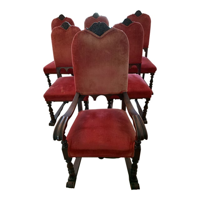 1920's Vintage Gimbel Brothers of Philadelphia Walnut Dining Room Chairs -  Set of 6