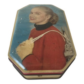 Vintage Mid-Century Young Girl With Skates Tin Box