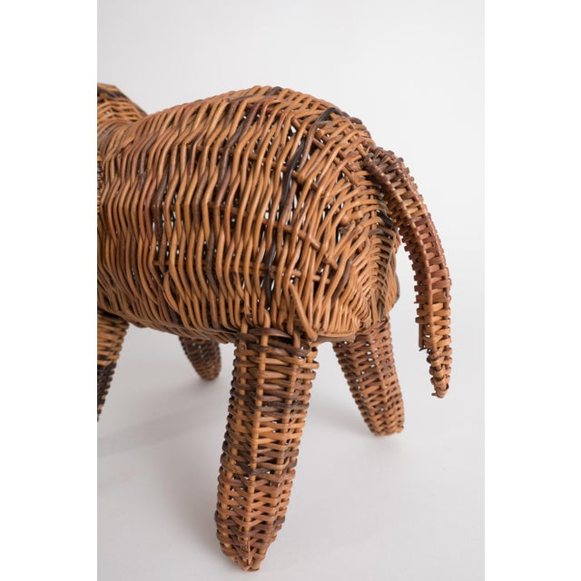 Brown Vintage Wicker Elephant Statue For Sale - Image 8 of 13