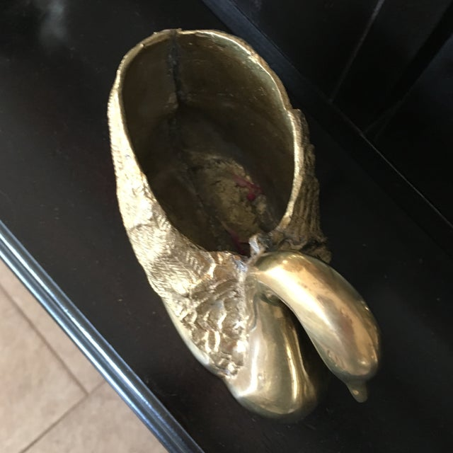 Mid-Century Solid Brass Swan Form Planter For Sale - Image 4 of 7