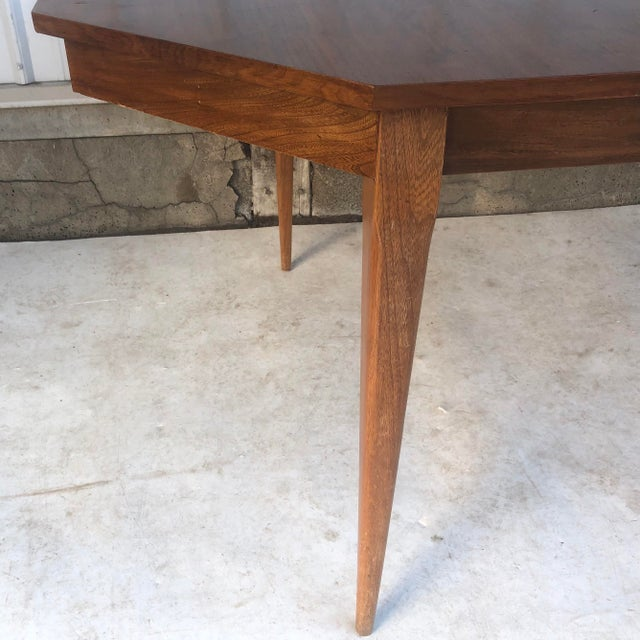 Brown Mid-Century Modern Dining Room Table With Leaf For Sale - Image 8 of 13