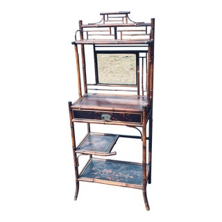 Vintage Burnt Bamboo Rattan Console Table Etagere For Sale