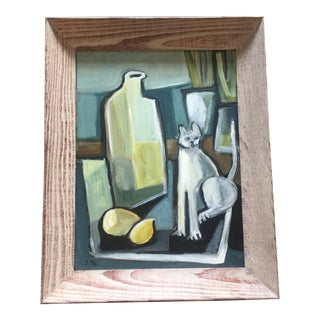 Original Stewart Ross Abstract Still Life With Cat Painting