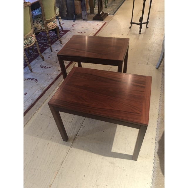 Danish mid century modern pair of richly stained and beautifully grained sleek rectangular end tables with box edges and...