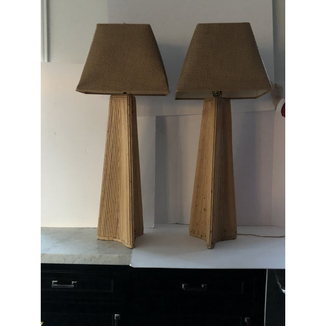 Vintage Palm Springs Style Tall Rattan Lamps - a Pair For Sale - Image 9 of 11