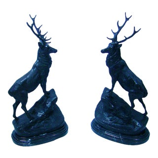 Pair of Large Bronze Stags After Jules Moigneiz For Sale
