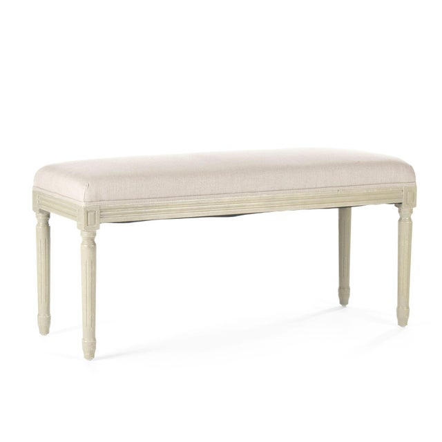 French Country Orchards Bench in Beige For Sale - Image 3 of 4