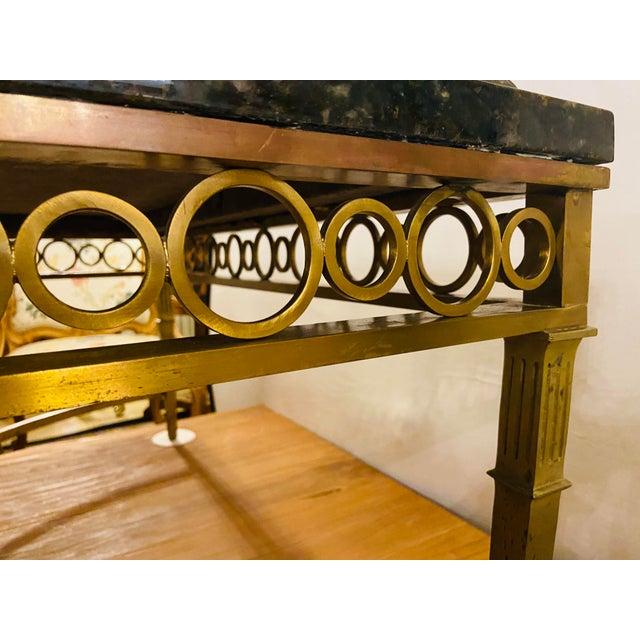 Hollywood Regency Granite Top on Brass Base Center Table For Sale - Image 9 of 13