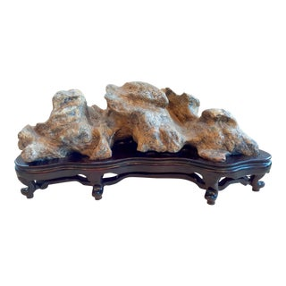 Chinese Taihu Gongshi Scholar's Rock with Wood Stand For Sale