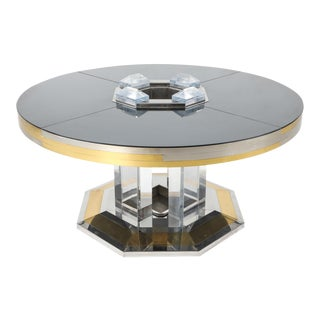 1970s Sandro Petti for Maison Jansen Chrome & Brass Round Dining Table For Sale