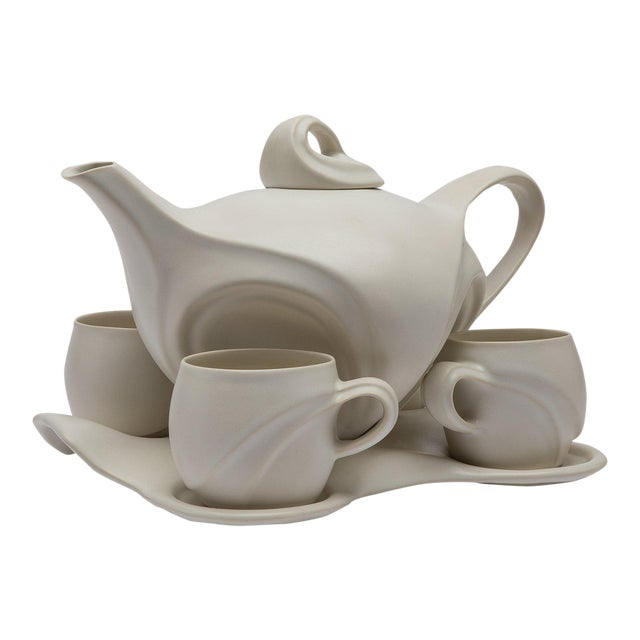 Space Age White Porcelain Teaset by Peter Saenger (Active 1970-Present) For Sale