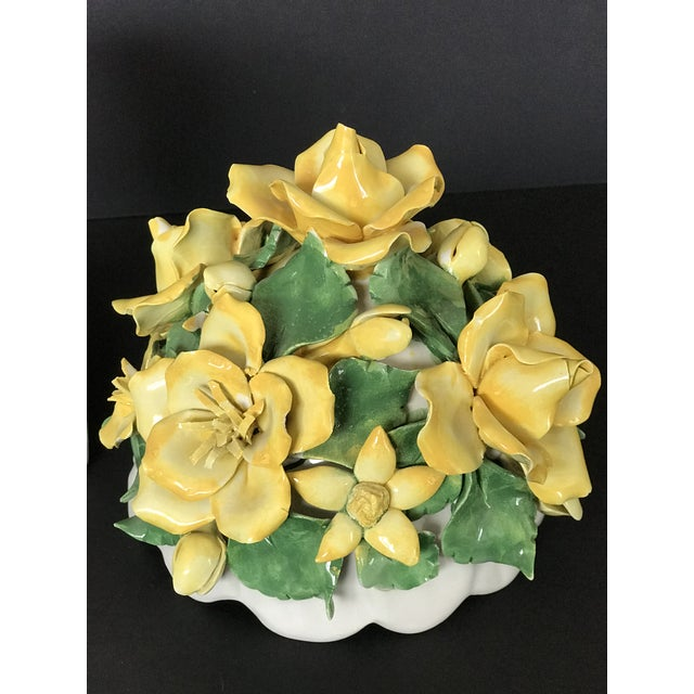 Late 20th Century Vintage Italian Ceramic Lidded Yellow Rose Topiary Jar For Sale - Image 5 of 10