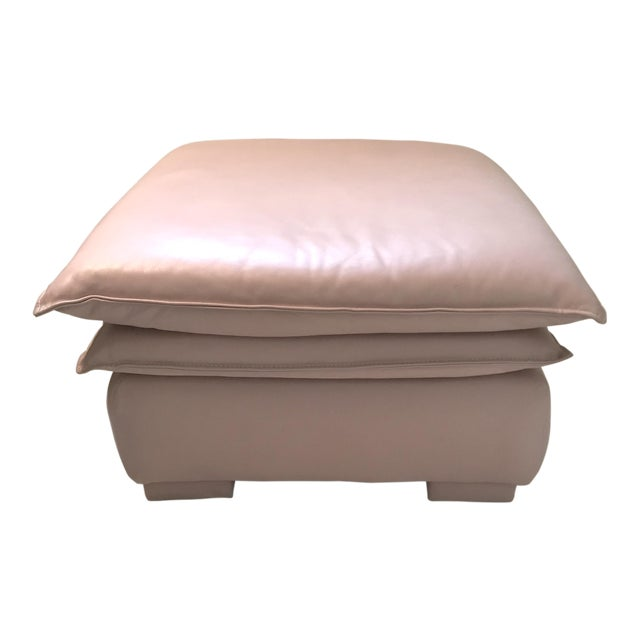 Lilac Leather Ottoman - Image 1 of 3