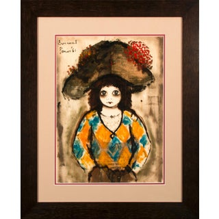 """1961 """"Untitled Harlequin"""" Mixed-Media Painting by Roger Etienne Everaert, Framed For Sale"""