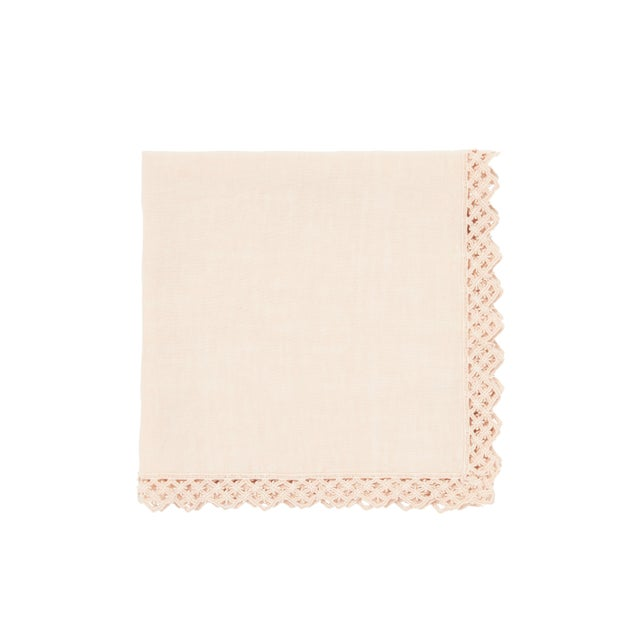 Textile Once Milano Linen Napkin With Macramé in Cream For Sale - Image 7 of 7