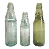 Image of Antique 19th Century English Codd Neck Glass Soda Bottles - Set of 3 For Sale