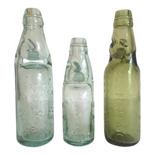 Antique 19th Century English Codd Neck Glass Soda Bottles - Set of 3 For Sale