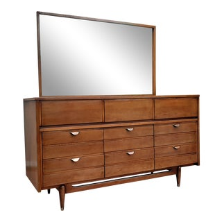 Mid Century Modern Hooker Mainline 9 Drawer Walnut Dresser With Mirror For Sale