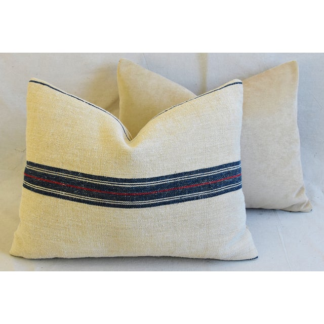 "French Woven Blue & Red Striped Grain Sack Feather/Down Pillows 24"" X 18"" - Pair For Sale - Image 10 of 13"