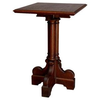 Antique English Gothic Quarter Sawn Oak Cluster Column Side Table For Sale
