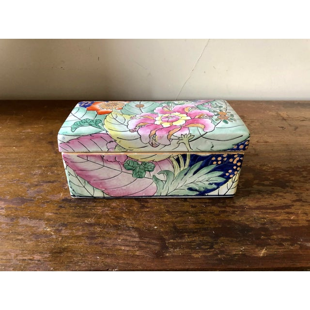 Ceramic Vintage Chinoiserie Tobacco Leaf Porcelain Box For Sale - Image 7 of 7
