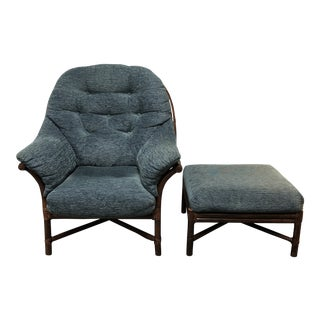 McGuire Big Boy Chair + Ottoman in Kravet Fabric. For Sale