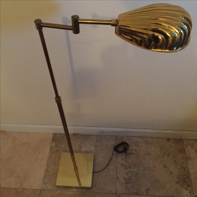Vintage Brass Shell Shade Adjustable Floor Lamp - Image 3 of 4