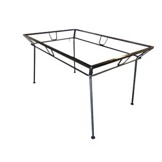 Woodard Art Deco Wrought Iron and Glass Patio/Outdoor Table For Sale