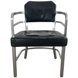 Art Deco Machine Age Aluminum and Leather Armchair by GoodForm For Sale