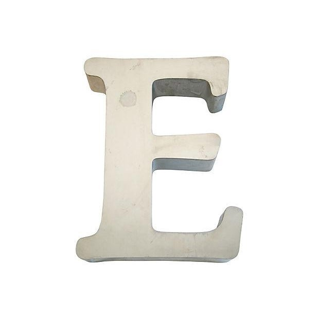 Large 1970s Stainless Steel Marquee Letter E - Image 1 of 5